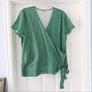 Loft Outlet Green and White Wrap Shirt XL